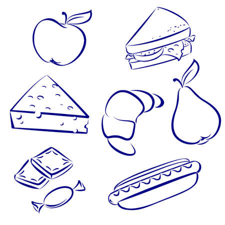cheese bread: Set a morning meal. Illustration on white background for design