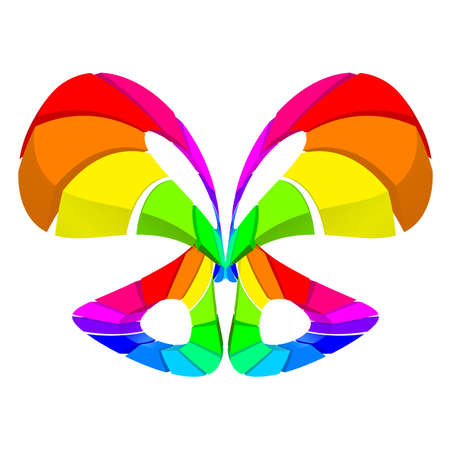 peacock butterfly: Abstract colorful butterfly over white for design