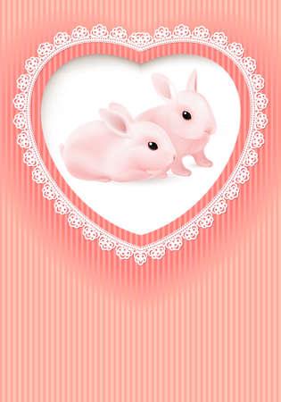 Biglietto d'auguri. Due conigli in un cuore su sfondo rosa.