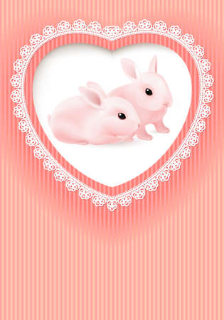 Greeting Card. Two Rabbits in a Heart on Pink background. Vector