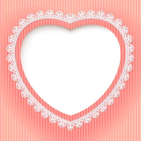 retro lace: Decorative heart is on a pink background. Illustration for design Illustration