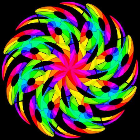 3d flower: Hypnotic color swirl. Illustration on black background