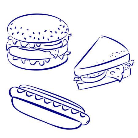 Fast food iconen, zwart en wit met de hand getekende look: hamburger, hot-dog, boterham met kaas