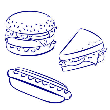 Fast food icons, black and white hand-drawn look: hamburger, hot-dog, cheese sandwich Stock Vector - 12349586