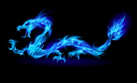 blue dragon: Abstract Dragon. Illustration on black background for design Illustration