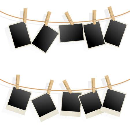 grunge photo frame: Cornici su corda. Illustrazione su sfondo bianco