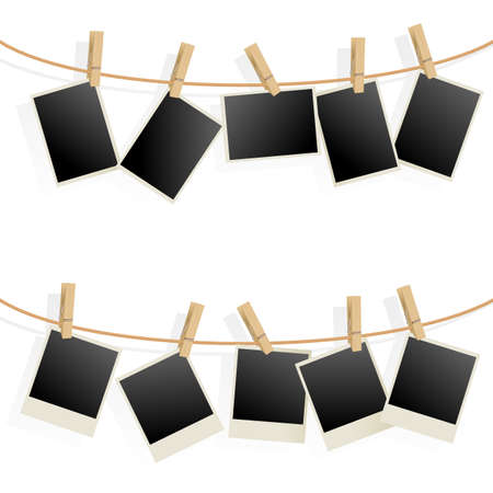 pegs: Photo Frames on Rope. Illustration on white background