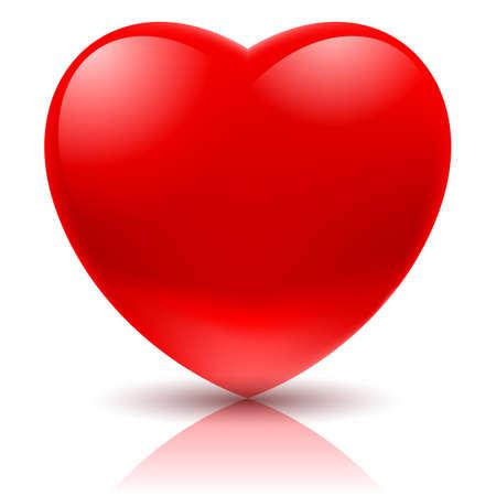 Grande cuore rosso. Illustrazione su sfondo bianco