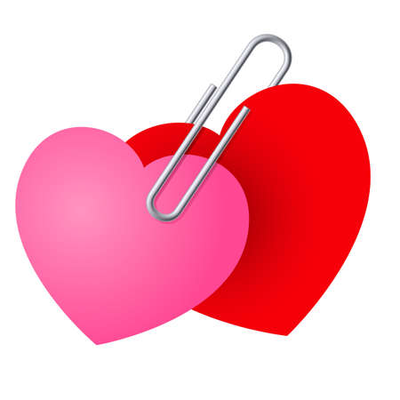 2 objects: Two Hearts Pinned Together. St. Valentines Day illustration