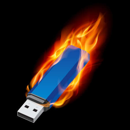 usb cable: Blue USB Flash Drive in Fire. Illustration on black background