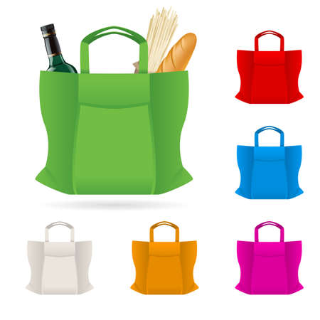 white paper bag: Set of Shopping Bag With Foods Illustration on white