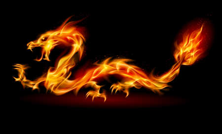 ドラゴン。黒の背景に設計のための燃えるような図は抽象  イラスト・ベクター素材