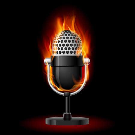 microfono antiguo: Micrófono en el fuego. Ilustración en el diseño de fondo negro primer plano