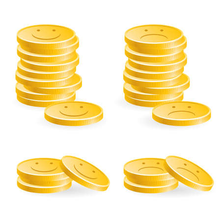 Illustration of the golden coins with smile on white background Vector