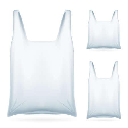 plastic: Set van witte plastic zak op witte achtergrond voor het ontwerp Stock Illustratie