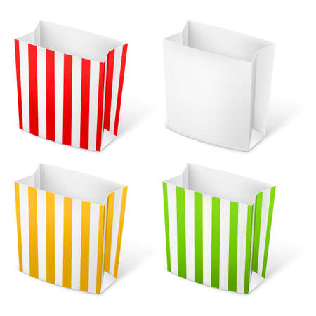 Set of Stripped color Paper Bags. Illustration on white background Vector