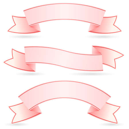 pink ribbons: Set of Pink Banners. Illustration on white background for design Illustration