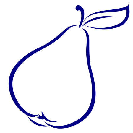 Pear. Blue and white icon. Illustration for design