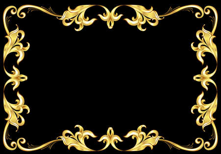 effortless: Abstract Gold Frame.  Illustration on black background for design