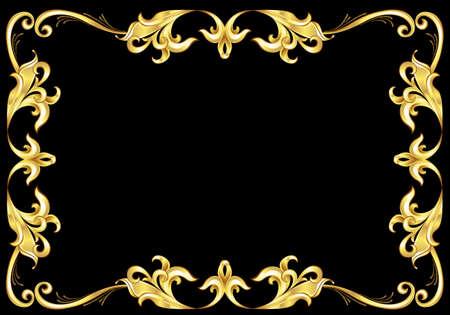 effortless: Marco de oro de Resumen. Ilustraci�n sobre fondo negro para el dise�o Vectores