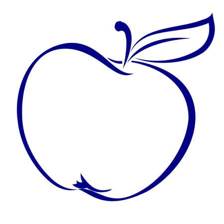 사과: 블루에서 만든 사과 모양. 흰색 배경에 그림입니다.