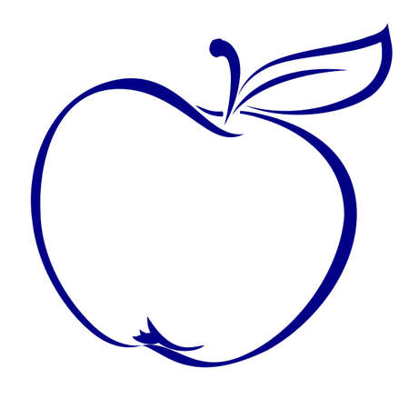 dessin au trait: Forme d'Apple Made in Blue. Illustration sur fond blanc. Illustration