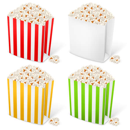 Popcorn in multi-colored striped packages. Illustration on white background for design Illustration