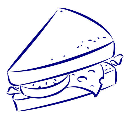 blue cheese: Sandwich. Blue and white icon. Illustration for design