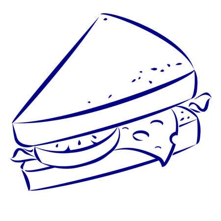 pan con mantequilla: Sandwich. Icono de color azul y blanco. Ilustraci�n para el dise�o