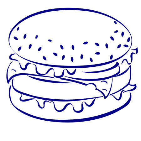 burger bun: Cheeseburger. Blue and white icon. Illustration for design