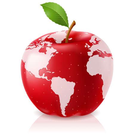 the natural world: Vector Red Apple World Map on White Background Illustration