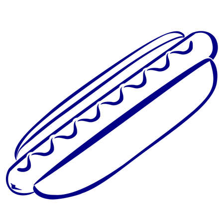 Hot dog. Blue and white icon. Illustration for design Vector