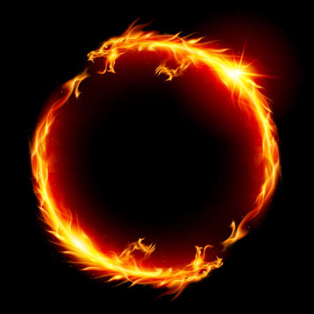드래곤 화재의 반지. 흰색 배경에 그림입니다.
