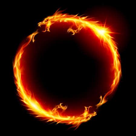 dragones: Anillo de Fuego del Dragón. Ilustración sobre fondo blanco.