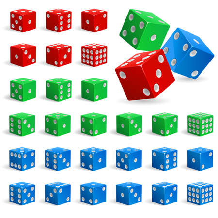 Set of color realistic dice. Illustration for design on white background Vector