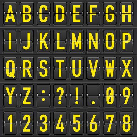 timetable: Set di lettere gialle su un calendario meccanico. Illustrazione del designer