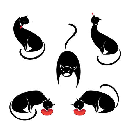 Big set of the black cats. Illustration on white background Vector