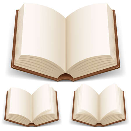 pile of books: Aprire libro dalle pagine bianche. Illustrazione su sfondo bianco Vettoriali