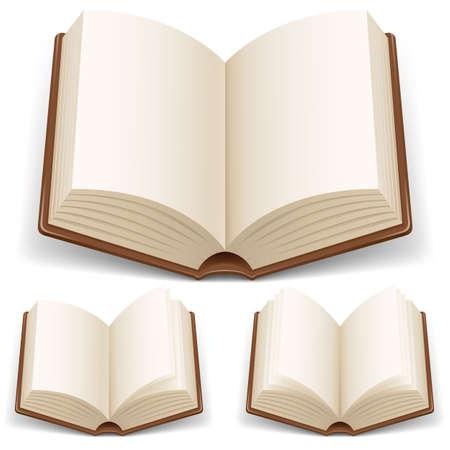 Open boek met witte pagina's. Illustratie op een witte achtergrond