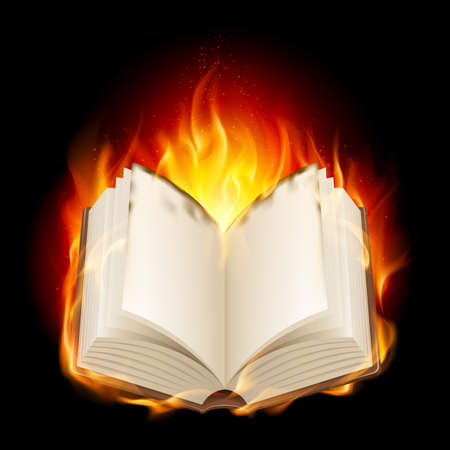 Burning book. Illustratin on black background for design Vector