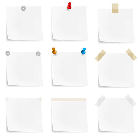 push pins: Paper notes and stickers. Illustration on white background Illustration