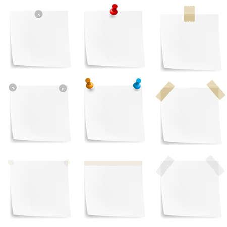 Papier nota's en stickers. Illustratie op een witte achtergrond Vector Illustratie