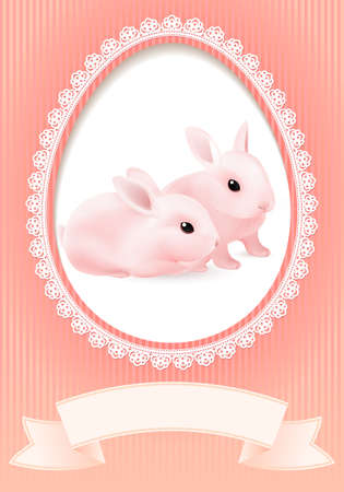 Greeting Card. Two Rabbits in a Heart on Pink background for design photo