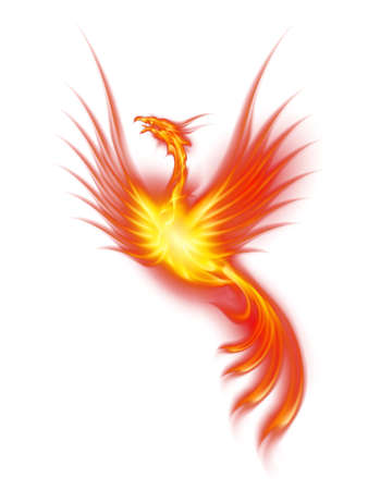 fiery: Raster version. Beautiful Burning Phoenix. Illustration isolated over white background