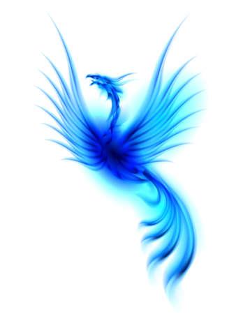 rebirth: Raster version. Burning blue phoenix isolated over white background  Stock Photo
