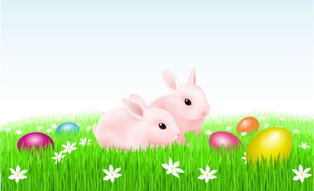 Rabbits and Easter Eggs. Illustration of designer illustration