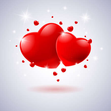 Red hearts Card. Illustration on white background for design Vector