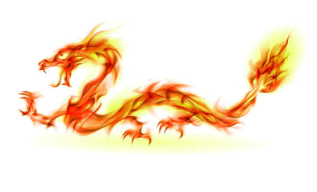 winged dragon: Dragon. Abstract fiery Illustration on white background for design