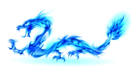 winged dragon: Abstract Dragon. Illustration on white background for design