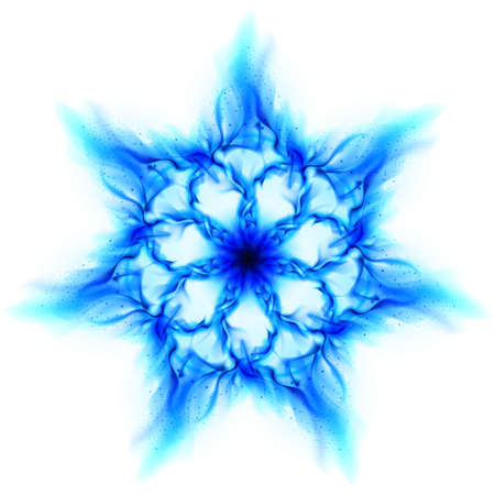Blue fire flower. Illustration on white background for design illustration
